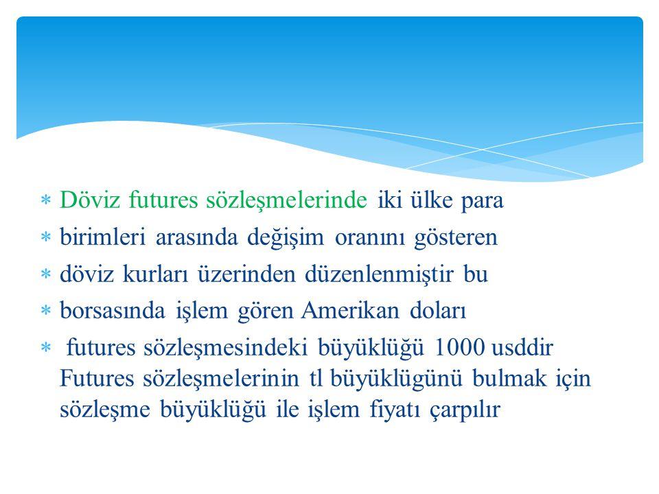 Döviz futures sözleşmelerinde iki ülke para
