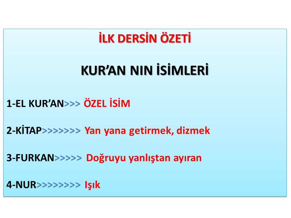 KUR'AN NIN İSİMLERİ İLK DERSİN ÖZETİ 1-EL KUR'AN>>> ÖZEL İSİM