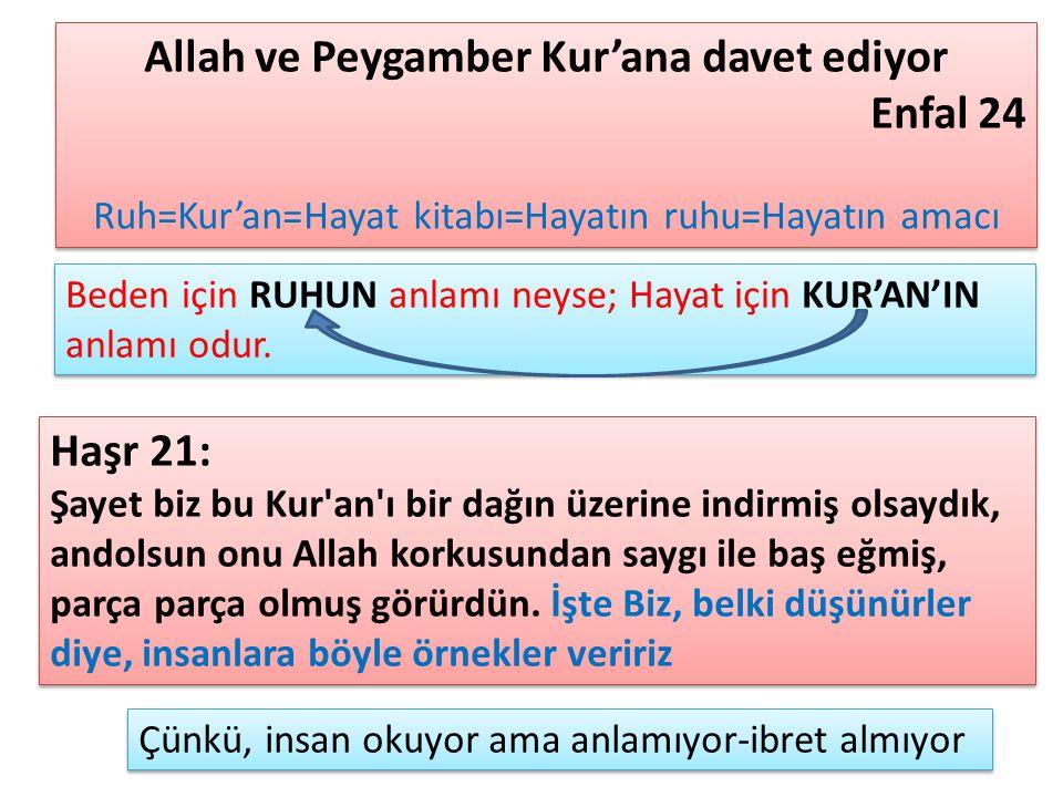 Allah ve Peygamber Kur'ana davet ediyor