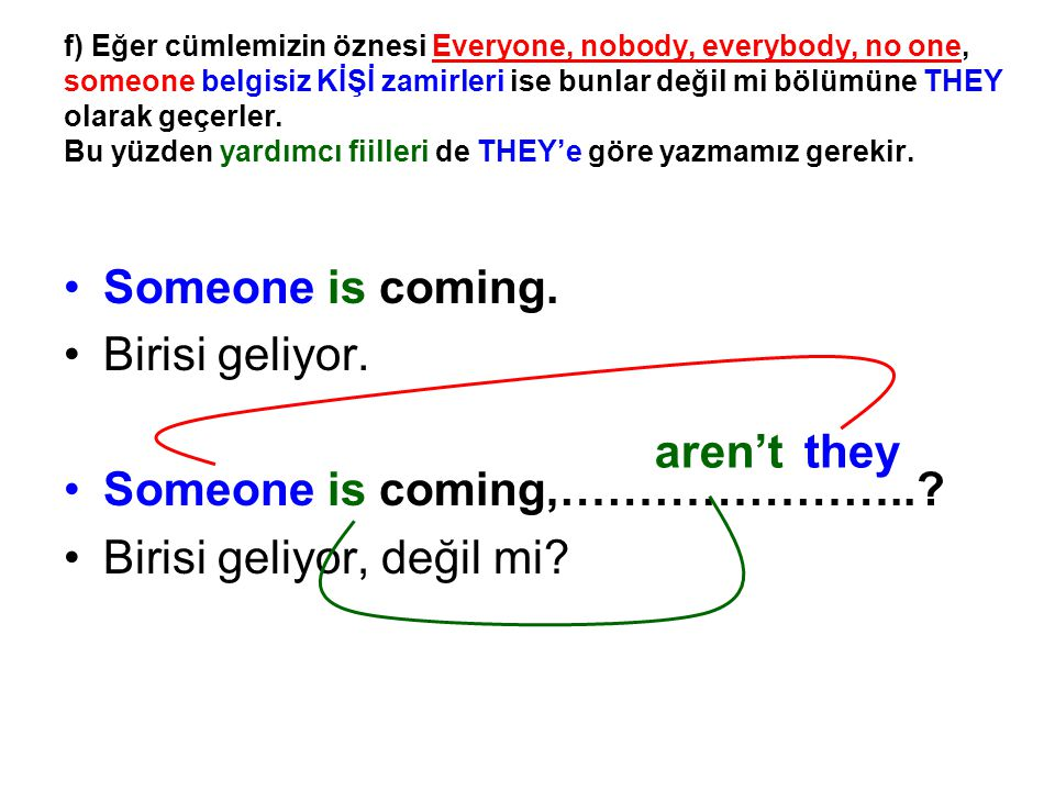 Someone is coming,………………….. Birisi geliyor, değil mi aren't they