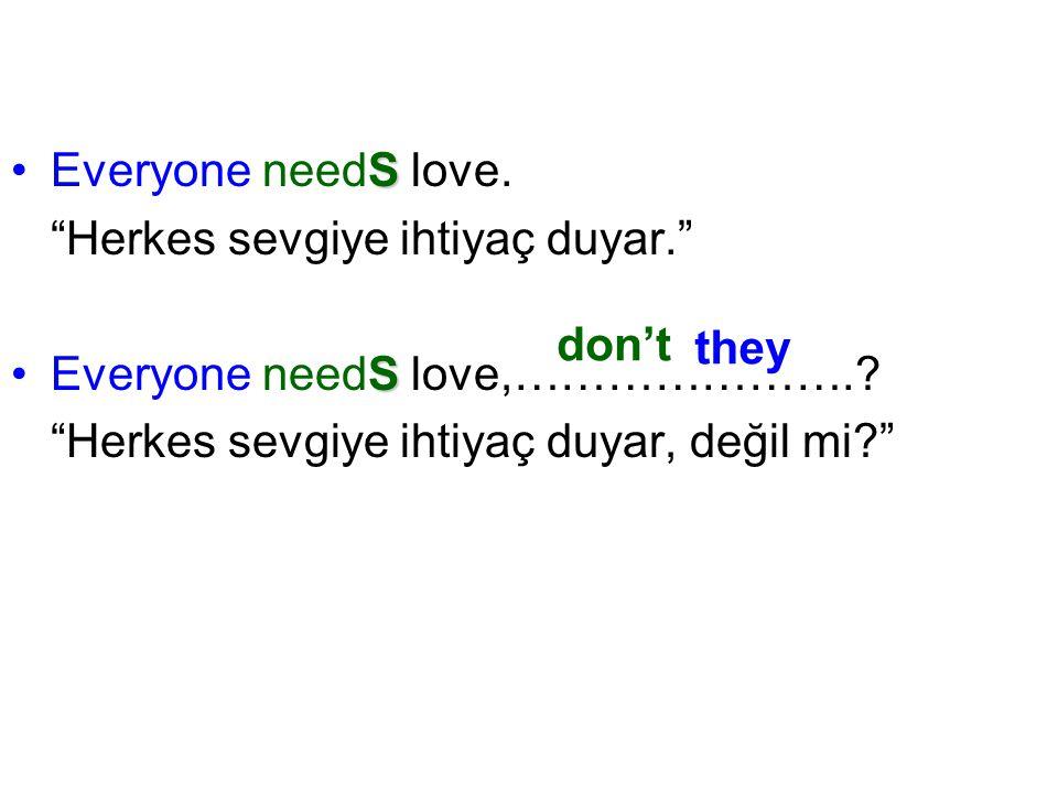 Everyone needS love. Herkes sevgiye ihtiyaç duyar. Everyone needS love,…………………. Herkes sevgiye ihtiyaç duyar, değil mi