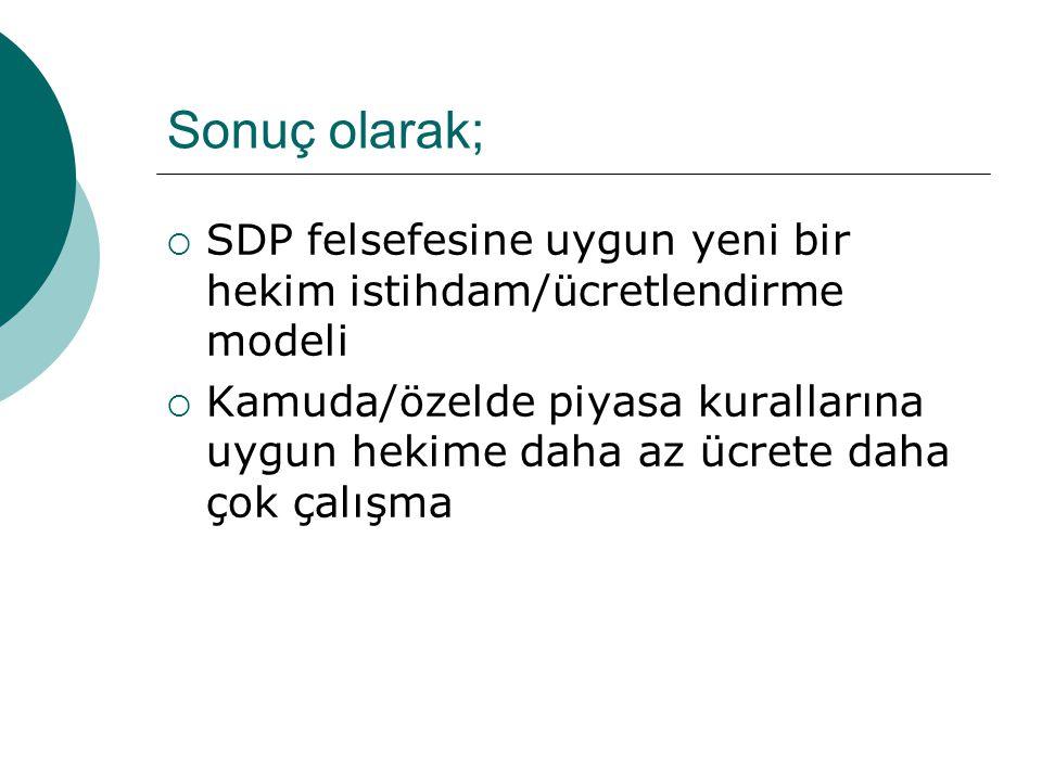 Sonuç olarak; SDP felsefesine uygun yeni bir hekim istihdam/ücretlendirme modeli.