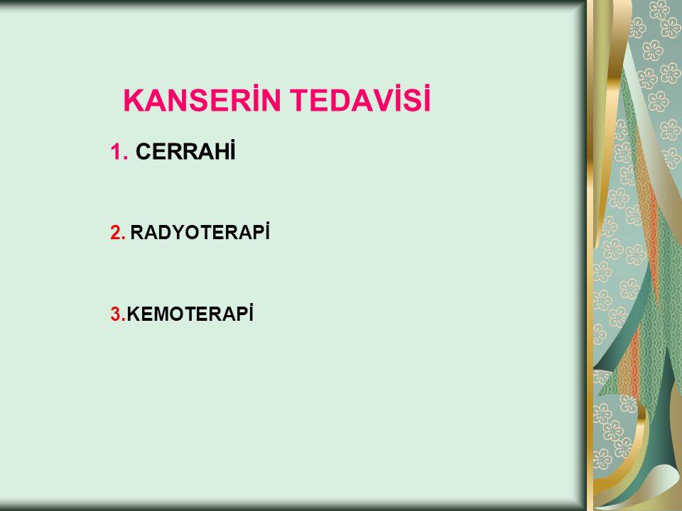 KANSERİN TEDAVİSİ 1. CERRAHİ 2. RADYOTERAPİ 3.KEMOTERAPİ