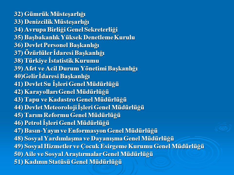 32) Gümrük Müsteşarlığı 33) Denizcilik Müsteşarlığı. 34) Avrupa Birliği Genel Sekreterliği. 35) Başbakanlık Yüksek Denetleme Kurulu.
