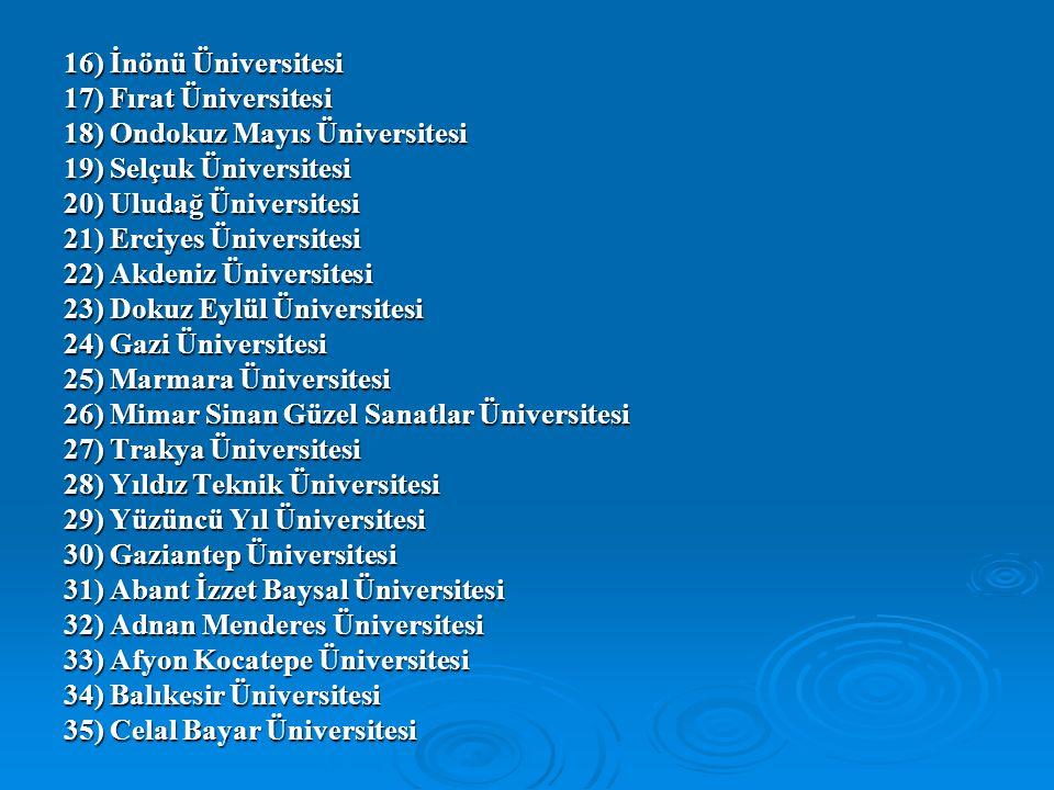 16) İnönü Üniversitesi 17) Fırat Üniversitesi. 18) Ondokuz Mayıs Üniversitesi. 19) Selçuk Üniversitesi.