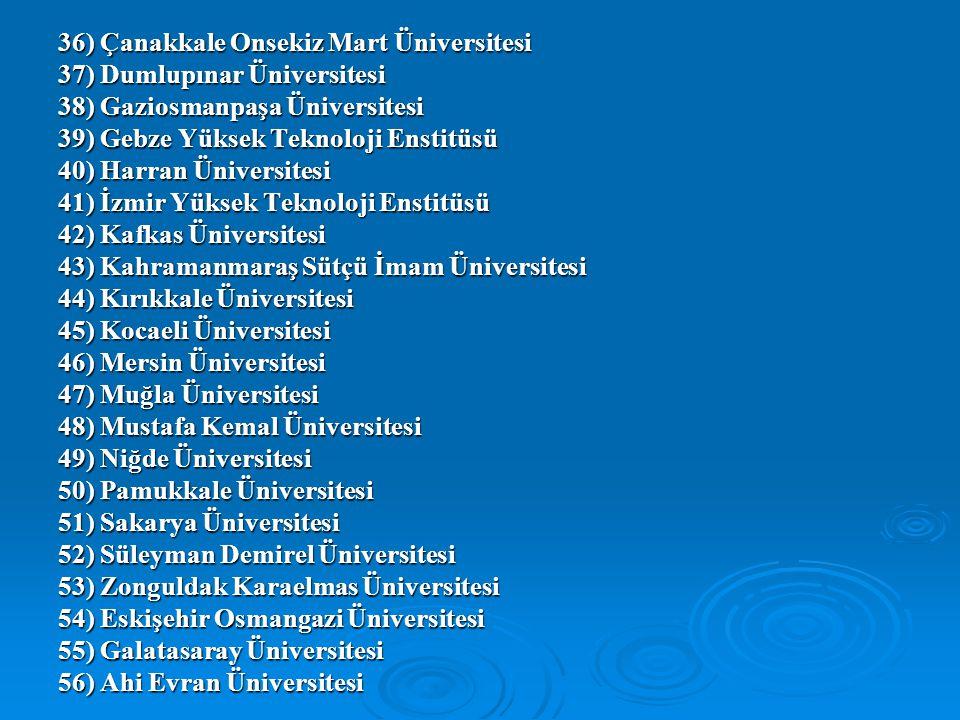 36) Çanakkale Onsekiz Mart Üniversitesi