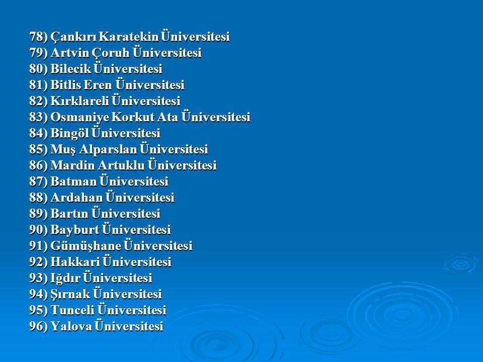78) Çankırı Karatekin Üniversitesi