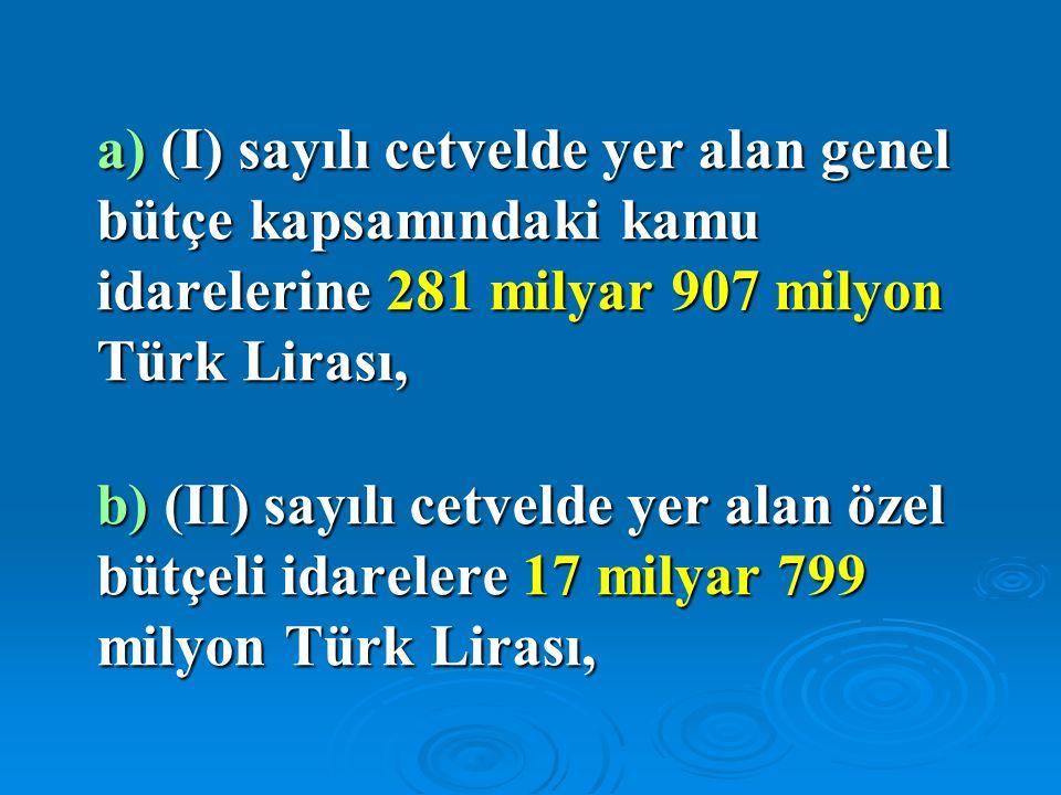 a) (I) sayılı cetvelde yer alan genel bütçe kapsamındaki kamu idarelerine 281 milyar 907 milyon Türk Lirası,