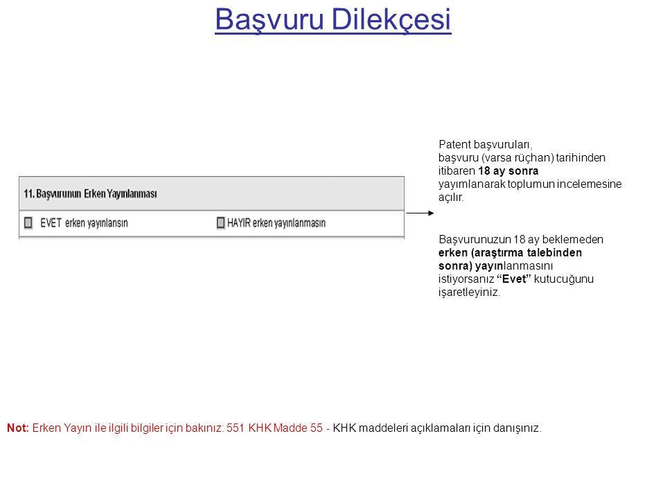 Başvuru Dilekçesi Patent başvuruları,