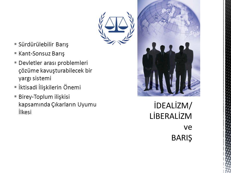 İDEALİZM/ LİBERALİZM ve BARIŞ