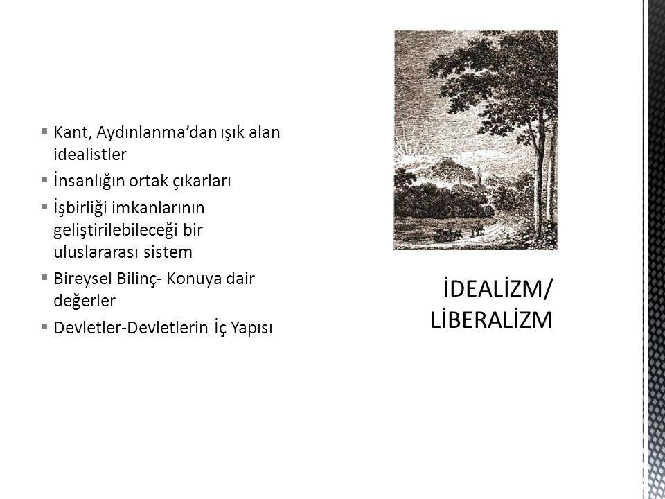 İDEALİZM/ LİBERALİZM Kant, Aydınlanma'dan ışık alan idealistler