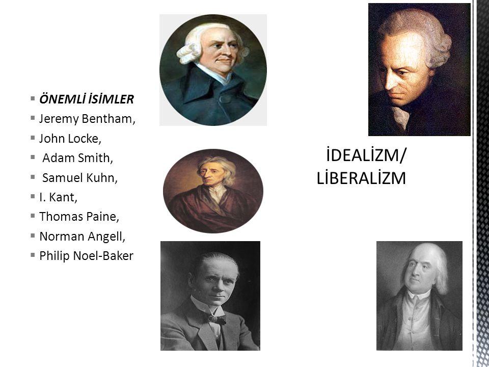 İDEALİZM/ LİBERALİZM ÖNEMLİ İSİMLER Jeremy Bentham, John Locke,