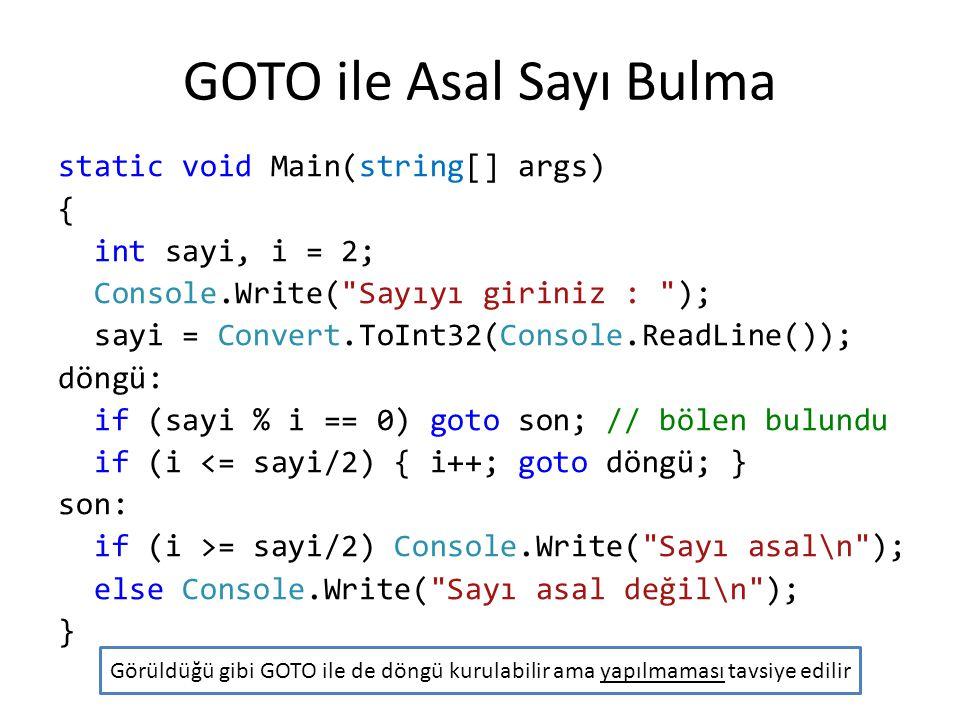 GOTO ile Asal Sayı Bulma