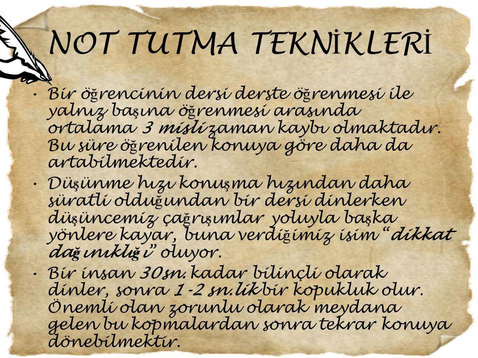 NOT TUTMA TEKNİKLERİ