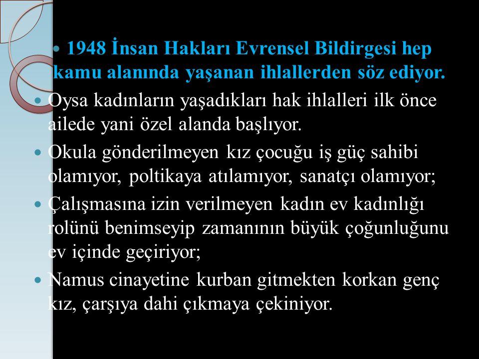 1948 İnsan Hakları Evrensel Bildirgesi hep kamu alanında yaşanan ihlallerden söz ediyor.