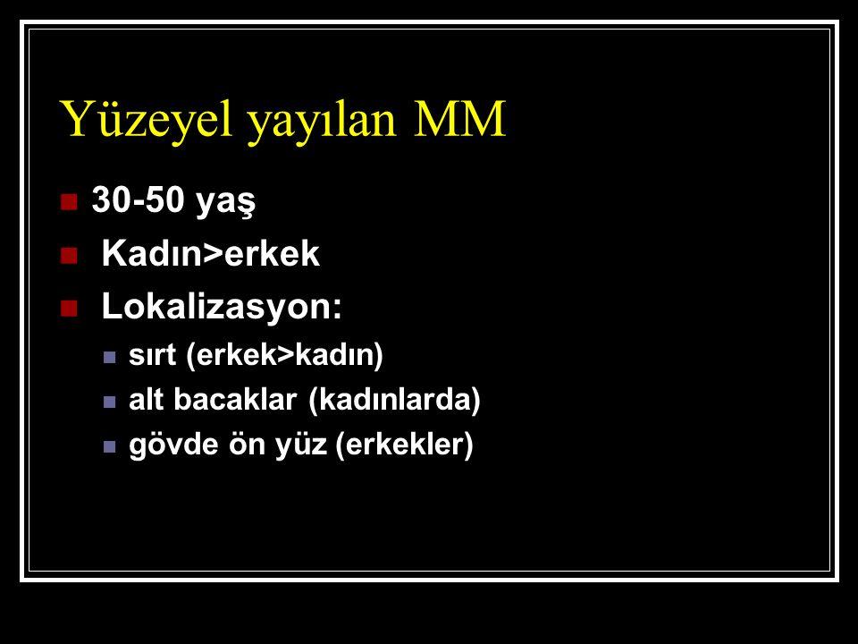 Yüzeyel yayılan MM 30-50 yaş Kadın>erkek Lokalizasyon: