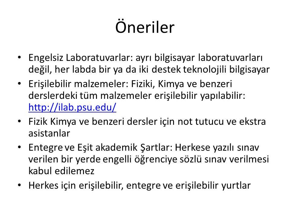 Öneriler Engelsiz Laboratuvarlar: ayrı bilgisayar laboratuvarları değil, her labda bir ya da iki destek teknolojili bilgisayar.