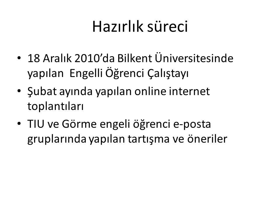 Hazırlık süreci 18 Aralık 2010'da Bilkent Üniversitesinde yapılan Engelli Öğrenci Çalıştayı. Şubat ayında yapılan online internet toplantıları.