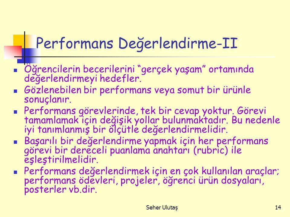 Performans Değerlendirme-II