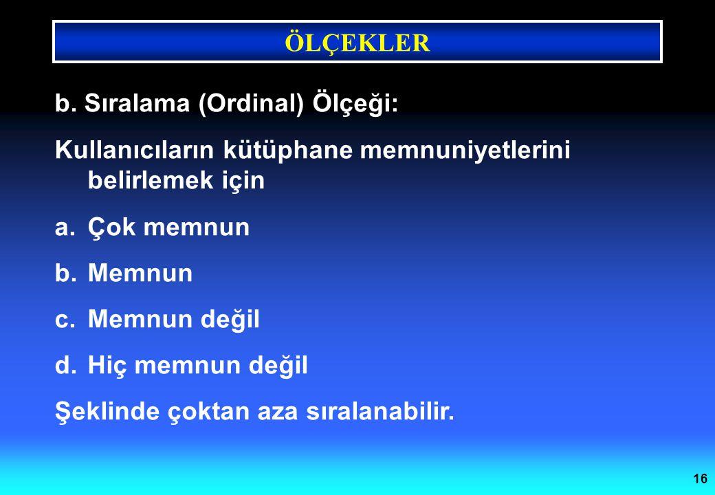 b. Sıralama (Ordinal) Ölçeği: