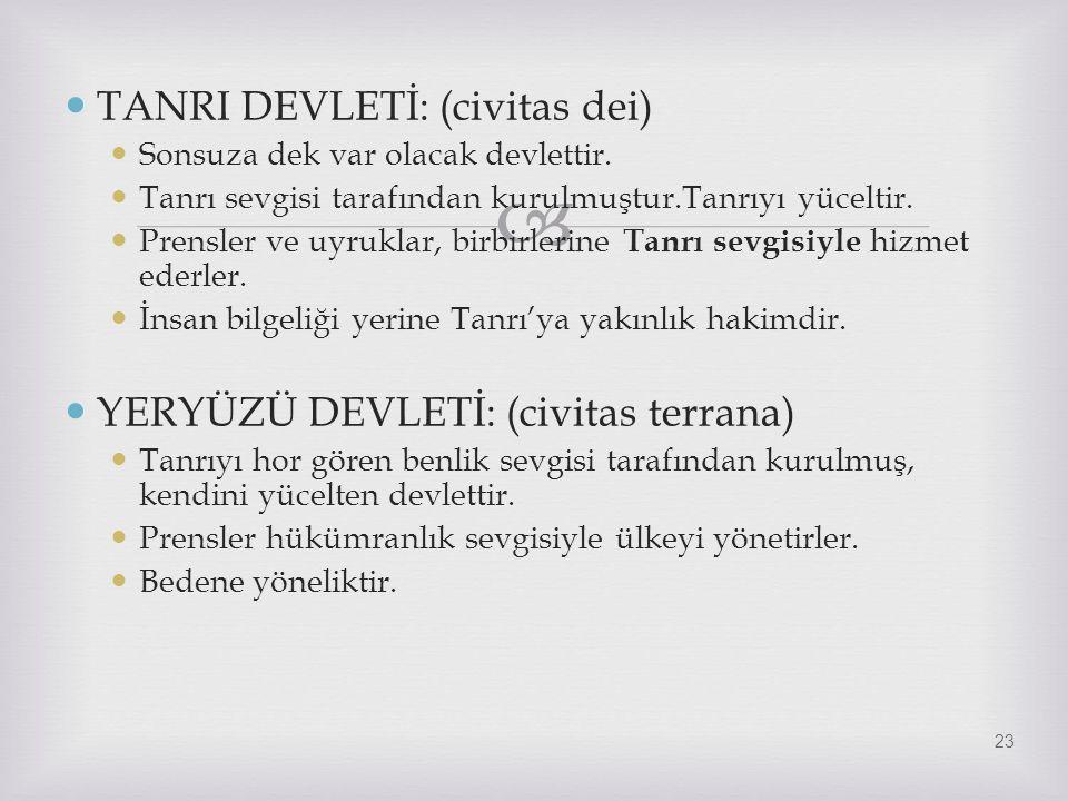 TANRI DEVLETİ: (civitas dei)