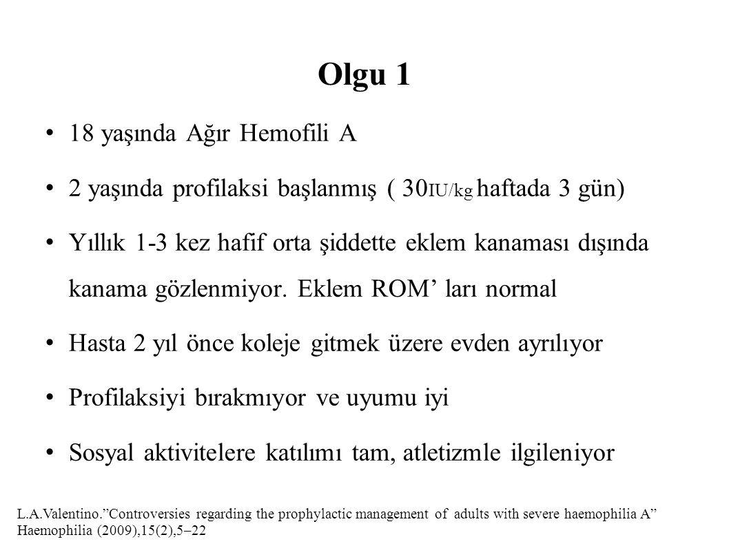 Olgu 1 18 yaşında Ağır Hemofili A