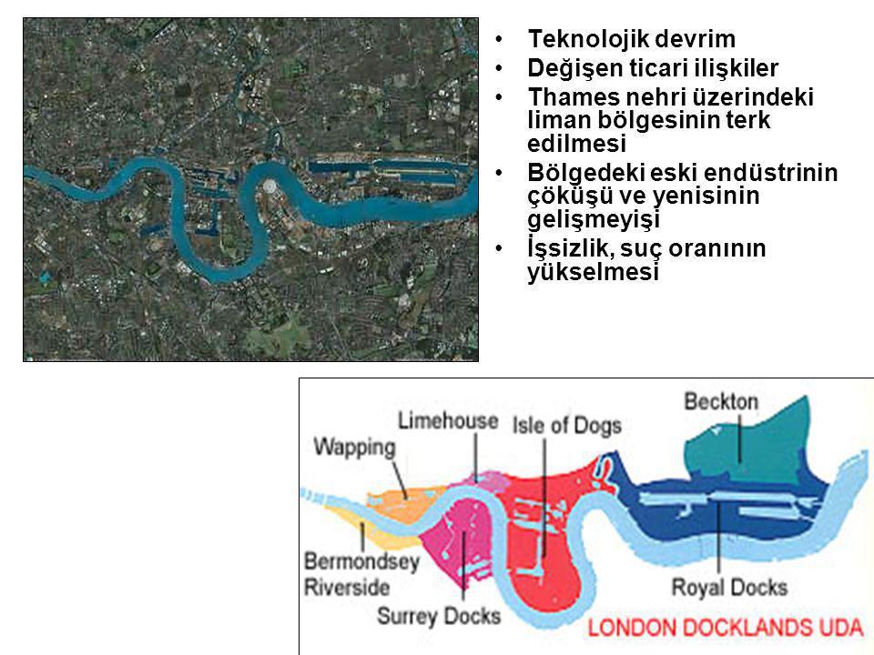 Teknolojik devrim Değişen ticari ilişkiler. Thames nehri üzerindeki liman bölgesinin terk edilmesi.