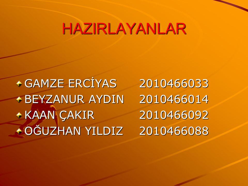 HAZIRLAYANLAR GAMZE ERCİYAS 2010466033 BEYZANUR AYDIN 2010466014