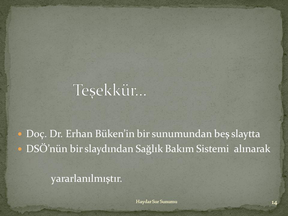 Teşekkür… Doç. Dr. Erhan Büken'in bir sunumundan beş slaytta