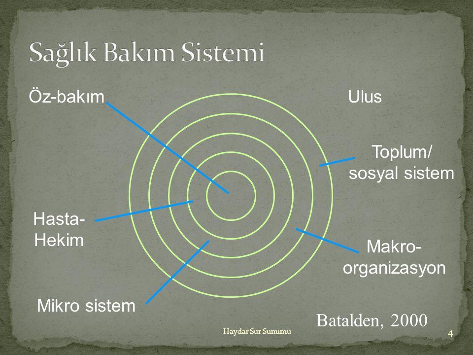 Sağlık Bakım Sistemi Batalden, 2000 Öz-bakım Ulus