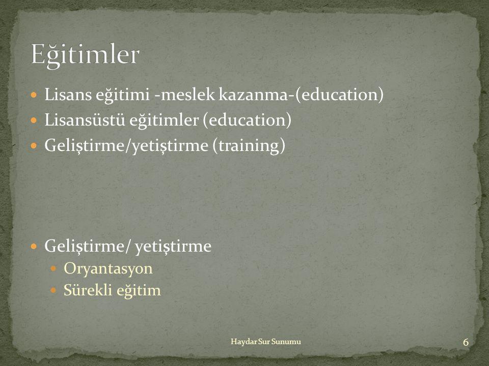 Eğitimler Lisans eğitimi -meslek kazanma-(education)