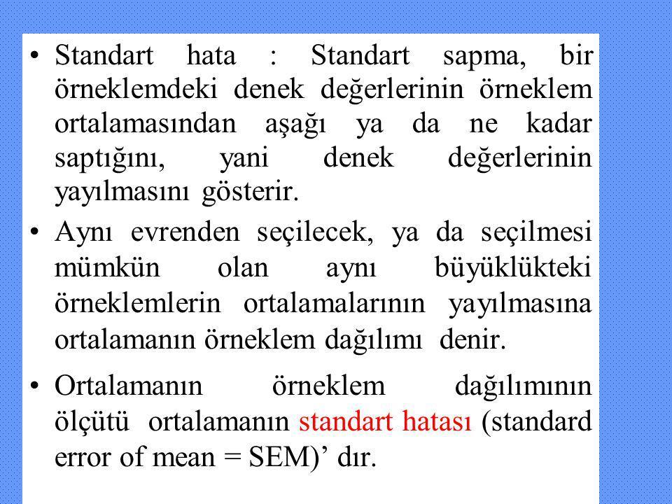 Standart hata : Standart sapma, bir örneklemdeki denek değerlerinin örneklem ortalamasından aşağı ya da ne kadar saptığını, yani denek değerlerinin yayılmasını gösterir.