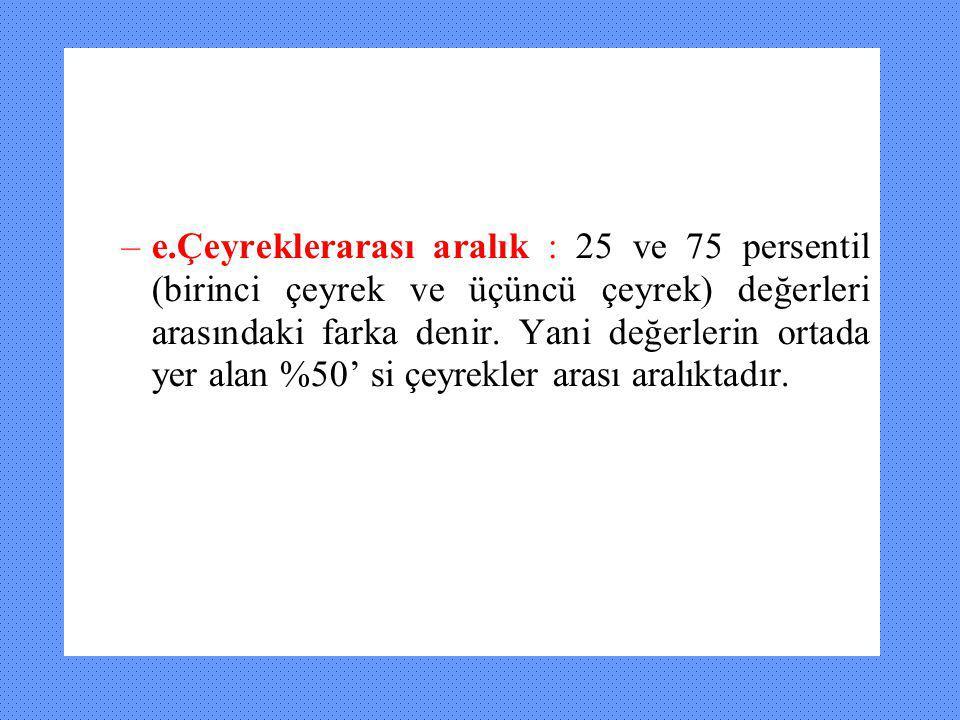e.Çeyreklerarası aralık : 25 ve 75 persentil (birinci çeyrek ve üçüncü çeyrek) değerleri arasındaki farka denir.