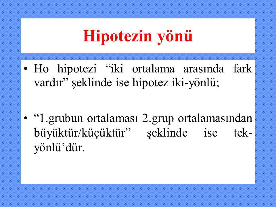 Hipotezin yönü Ho hipotezi iki ortalama arasında fark vardır şeklinde ise hipotez iki-yönlü;