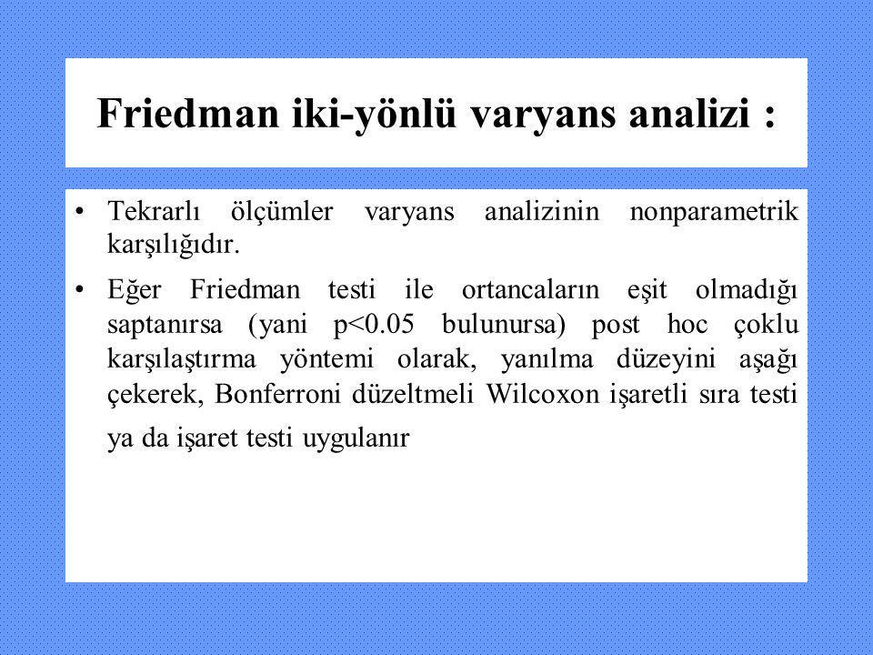 Friedman iki-yönlü varyans analizi :
