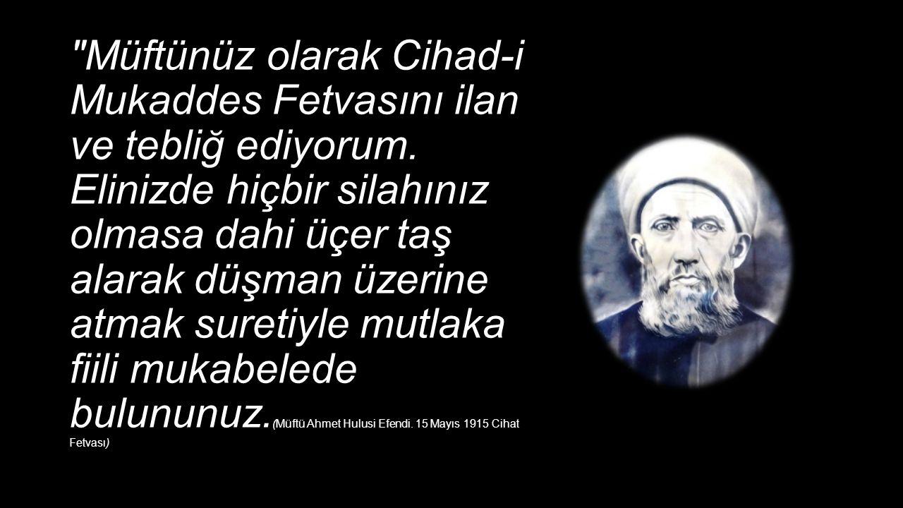 Müftünüz olarak Cihad-i Mukaddes Fetvasını ilan ve tebliğ ediyorum