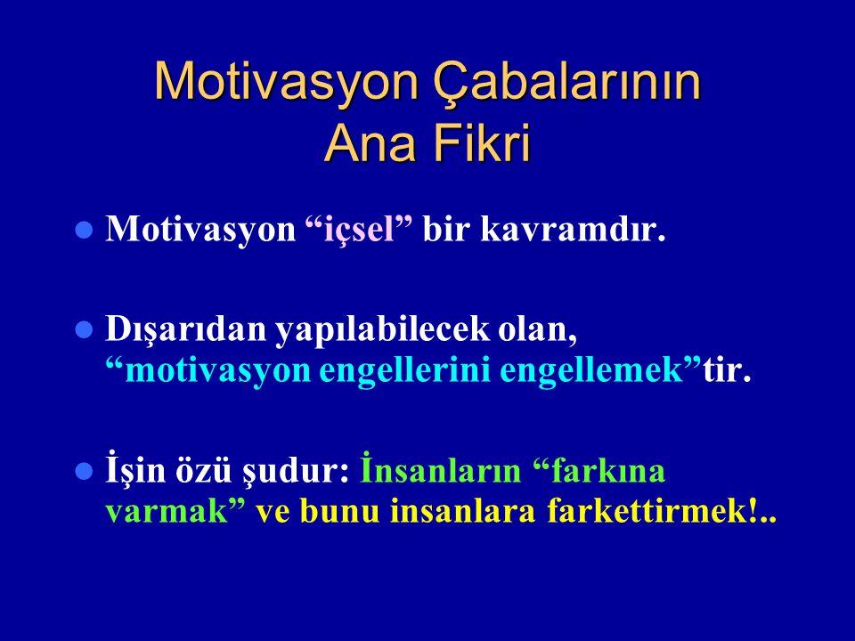 Motivasyon Çabalarının Ana Fikri