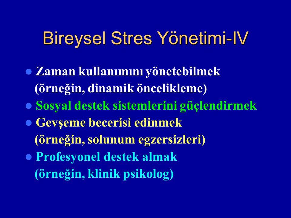 Bireysel Stres Yönetimi-IV