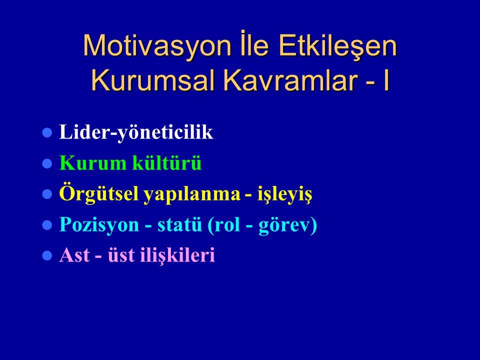 Motivasyon İle Etkileşen Kurumsal Kavramlar - I