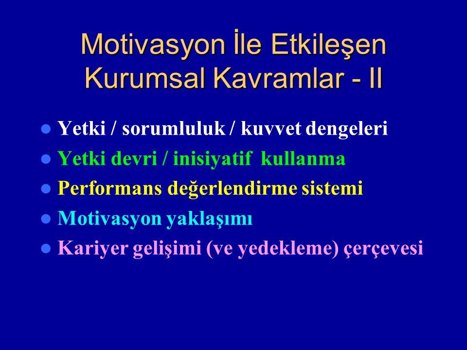 Motivasyon İle Etkileşen Kurumsal Kavramlar - II