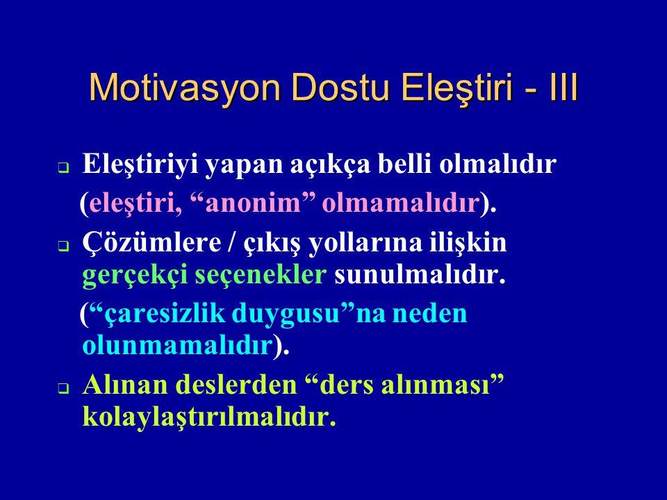 Motivasyon Dostu Eleştiri - III