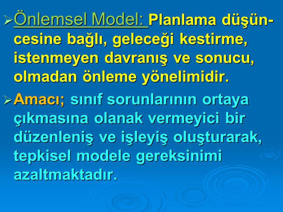Önlemsel Model: Planlama düşün-cesine bağlı, geleceği kestirme, istenmeyen davranış ve sonucu, olmadan önleme yönelimidir.