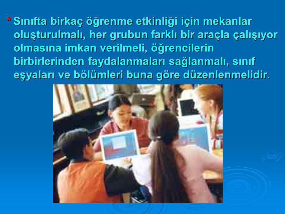 * Sınıfta birkaç öğrenme etkinliği için mekanlar oluşturulmalı, her grubun farklı bir araçla çalışıyor olmasına imkan verilmeli, öğrencilerin birbirlerinden faydalanmaları sağlanmalı, sınıf eşyaları ve bölümleri buna göre düzenlenmelidir.