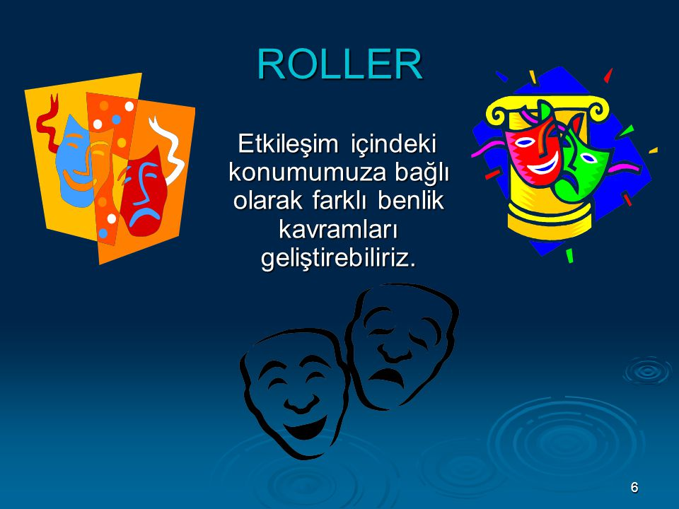 ROLLER Etkileşim içindeki konumumuza bağlı olarak farklı benlik kavramları geliştirebiliriz.