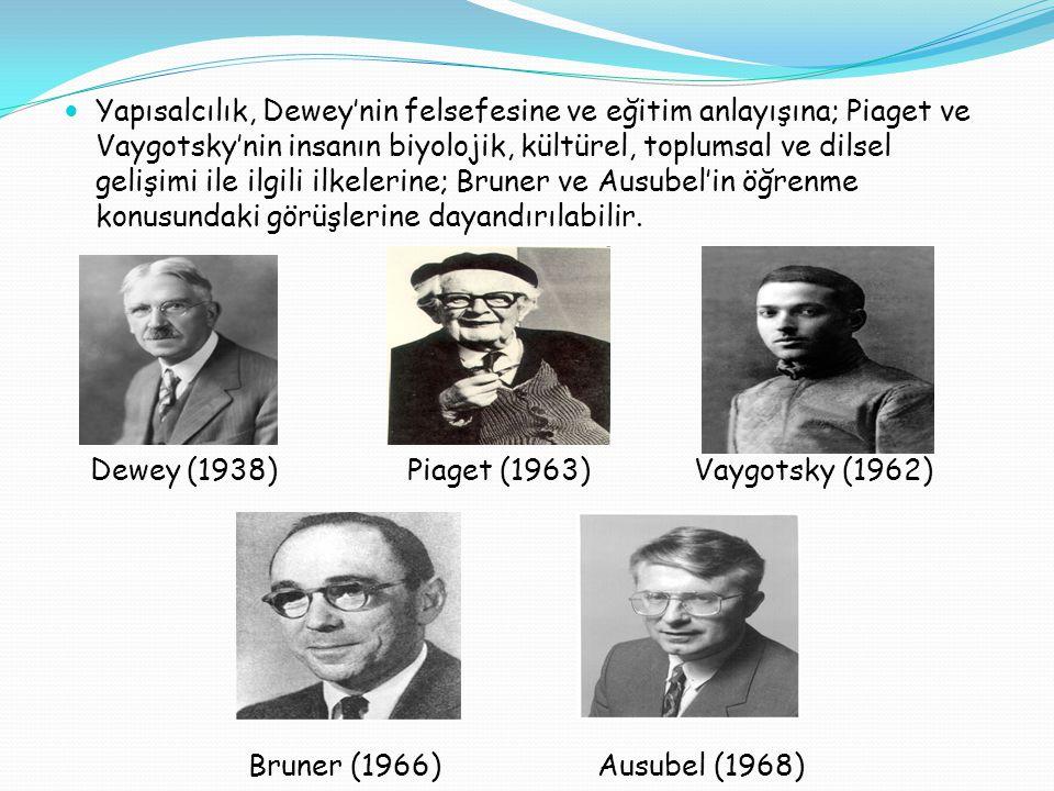Yapısalcılık, Dewey'nin felsefesine ve eğitim anlayışına; Piaget ve Vaygotsky'nin insanın biyolojik, kültürel, toplumsal ve dilsel gelişimi ile ilgili ilkelerine; Bruner ve Ausubel'in öğrenme konusundaki görüşlerine dayandırılabilir.