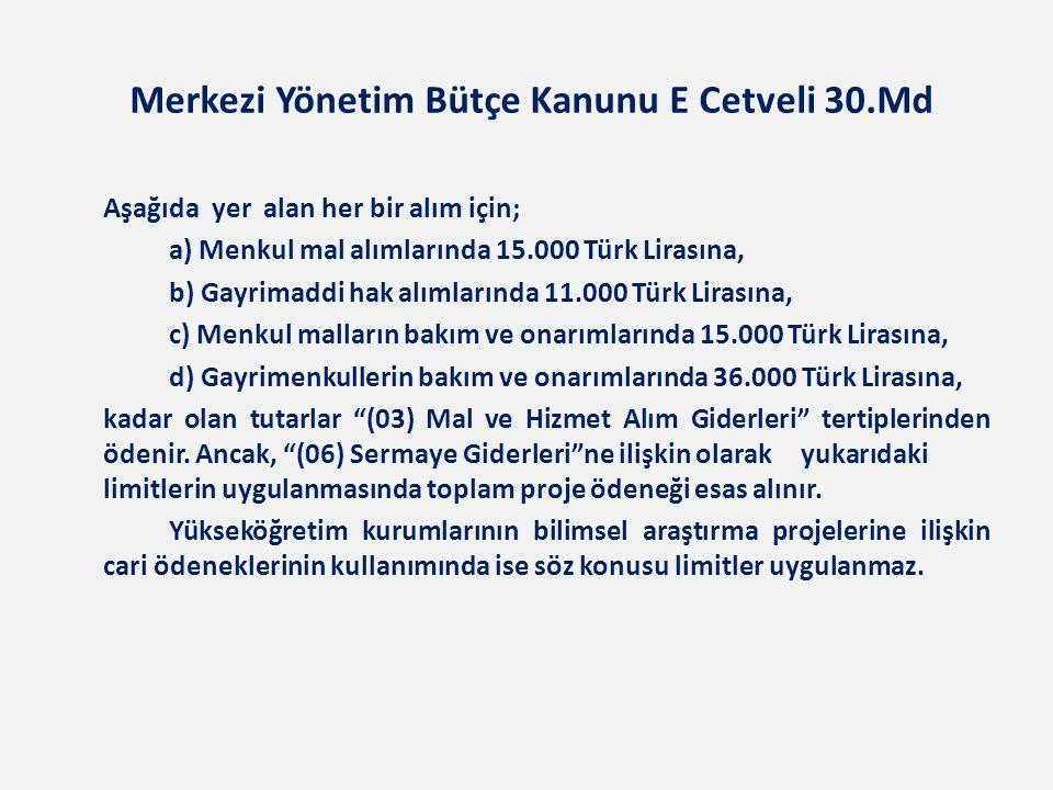 Merkezi Yönetim Bütçe Kanunu E Cetveli 30.Md