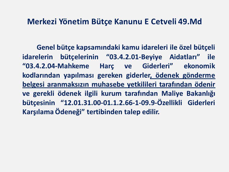Merkezi Yönetim Bütçe Kanunu E Cetveli 49.Md