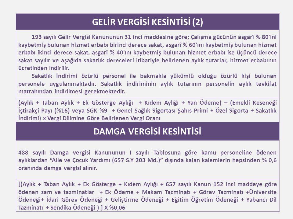 GELİR VERGİSİ KESİNTİSİ (2) DAMGA VERGİSİ KESİNTİSİ
