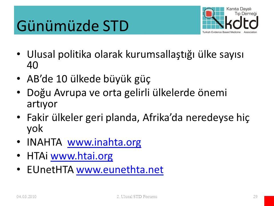 Günümüzde STD Ulusal politika olarak kurumsallaştığı ülke sayısı 40