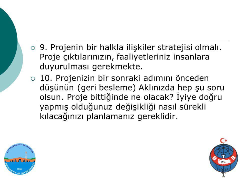 9. Projenin bir halkla ilişkiler stratejisi olmalı